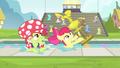 Apple Bloom and Granny Smith awarded a trophy S4E20.png