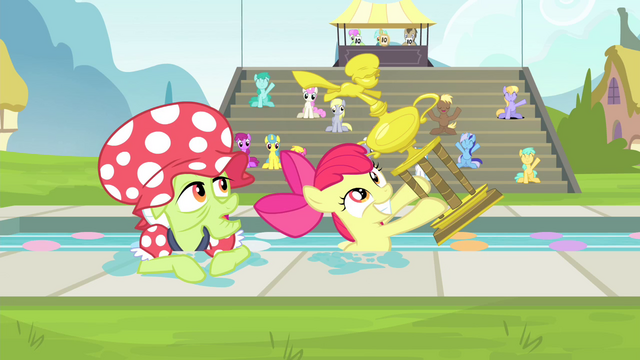 File:Apple Bloom and Granny Smith awarded a trophy S4E20.png