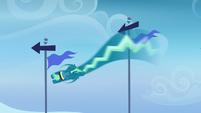 Sky Stinger zigzagging around the flagpoles S6E24