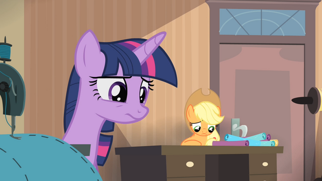 File:Twilight and Applejack looking down S4E08.png