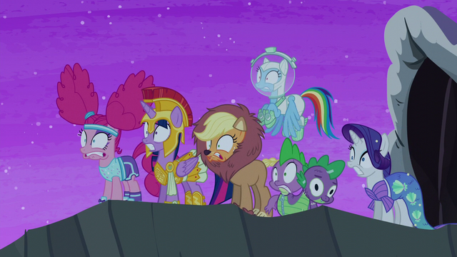 File:Main cast hears a sinister laugh S5E21.png