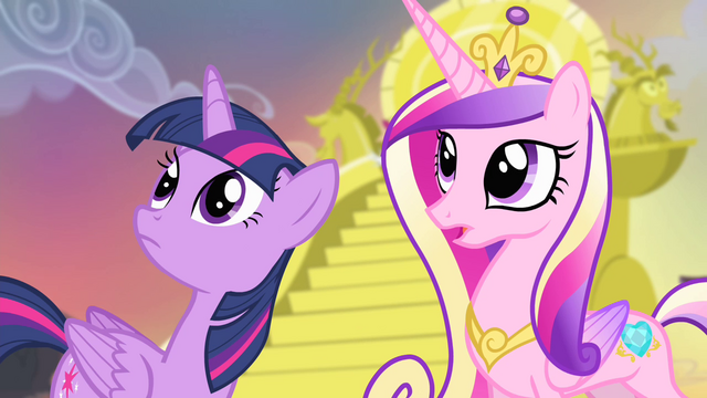 File:Twilight and Cadance looking towards the hill S4E11.png