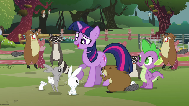 File:Fluttershy's animals surrounding Twilight S3E05.png