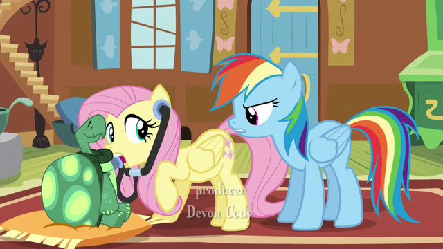 "File:Fluttershy hears Rainbow asking ""Well?"" S5E5.png"