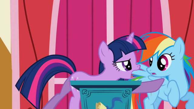 File:Rainbow Dash pushed away by Twilight S1E04.png