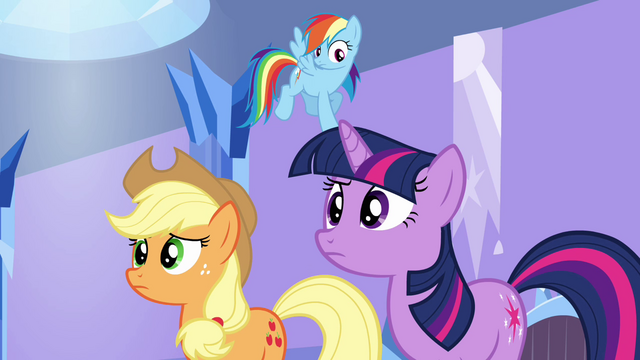 File:Twilight, Applejack, and Rainbow Dash puzzled S03E12.png