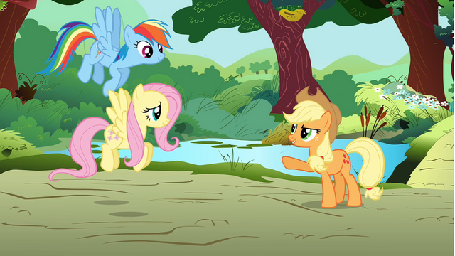 File:Applejack giving orders to Rainbow and Fluttershy S01E10.png