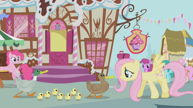 File:Fluttershy leads the ducks past Sugarcube Corner S1E05.png