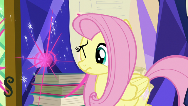 File:Fluttershy flinches from Twilight's teleporting portfolio S5E23.png