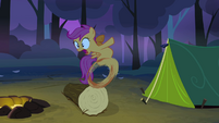 Scootaloo about to run into the tent S3E06