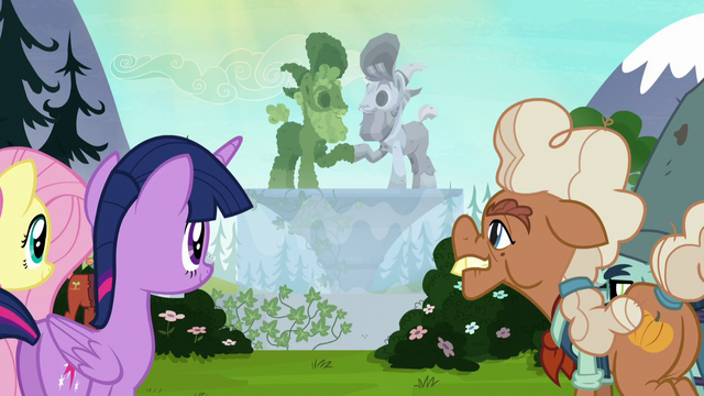 File:Twilight, Fluttershy, Ma, and Big Daddy look at the fountain S5E23.png