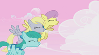 Derpy, Parasol, and Sprinkle Medley blow clouds away S1E11