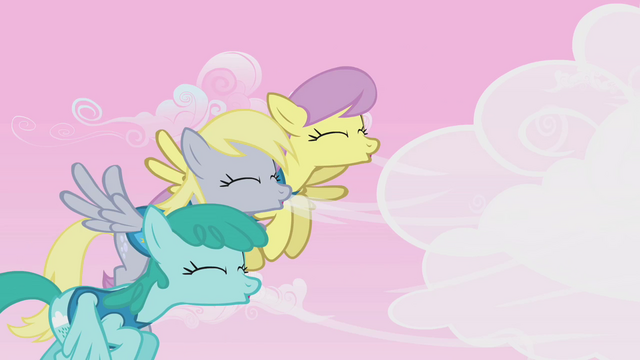 File:Derpy, Parasol, and Sprinkle Medley blow clouds away S1E11.png