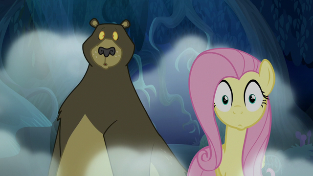 File:Fluttershy and Harry looking startled S6E15.png
