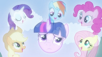 Twilight Sparkle and Main 5 in sky song effect S02E25