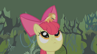 Apple Bloom listens to Applejack S1E09