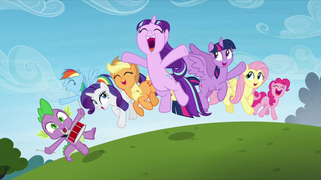 File:Main cast and Starlight Glimmer jump in happiness S5E26.png