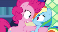 Pinkie Pie pulls Rainbow Dash in close EG2