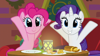 Rarity and Pinkie with her hooves up S6E12