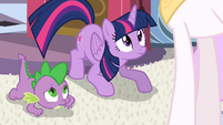 Spike and Twilight looks up at Celestia S4E01