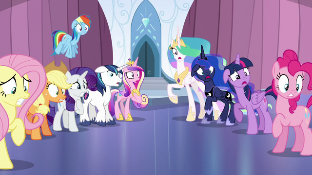File:Mane Six and friends in complete shock S6E1.png