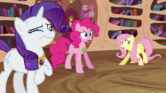 "File:Fluttershy, Pinkie, and Rarity ""what happened"" S03E13.png"