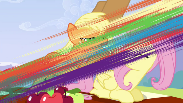 File:Rainbow flying past Fluttershy and Applejack S3E7.png