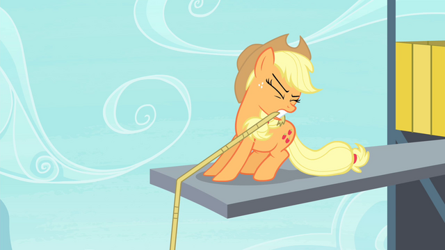 File:Applejack holding lasso with her teeth S4E20.png
