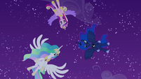 Celestia, Luna, and Cadance hover over Twilight S4E25