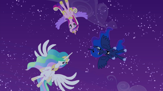 File:Celestia, Luna, and Cadance hover over Twilight S4E25.png