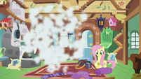 Discord poofs out of Fluttershy's cottage S6E17