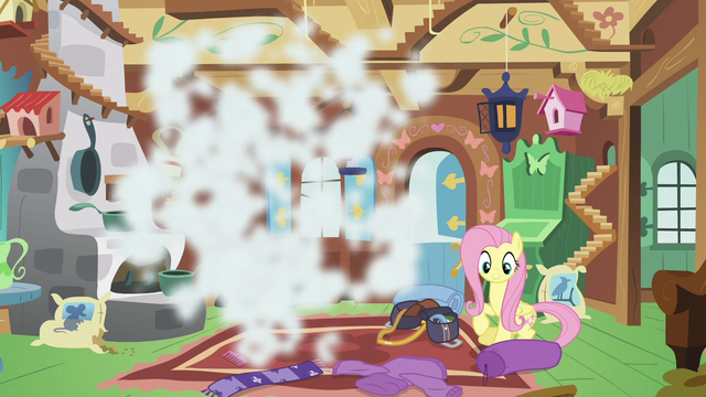File:Discord poofs out of Fluttershy's cottage S6E17.png