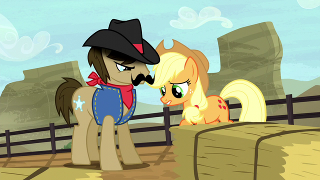File:Applejack and Silverstar looking at the dirt S5E6.png