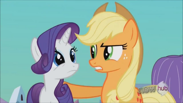 File:Applejack reassuring Rarity S3E2.png