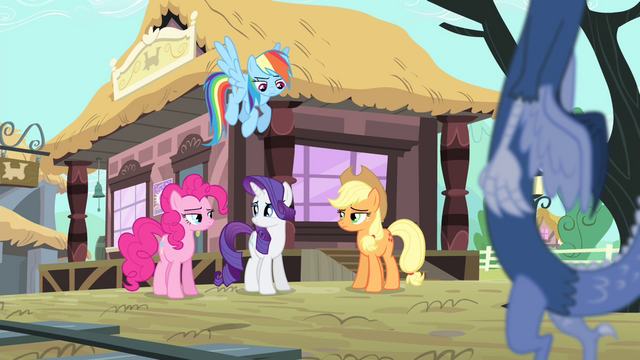 File:Rainbow, AJ and Pinkie looking at Rarity S4E11.png