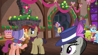 Several ponies at the party; Snowdash looking worried S06E08