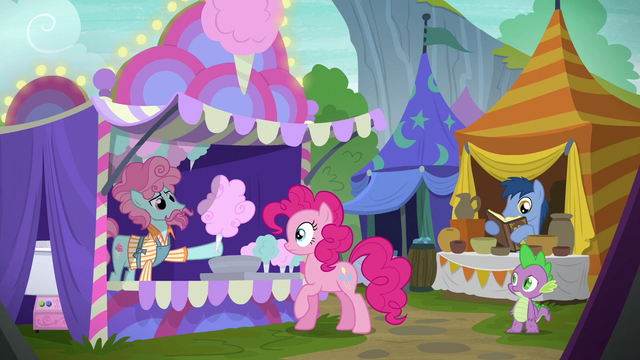 File:Cotton candy pony giving cotton candy to Pinkie S6E7.png