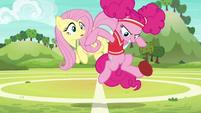 Pinkie Pie tries catching a runaway softball S6E18