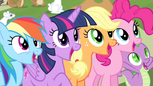 File:Twilight and friends cheering S4E14.png