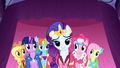 All of the dresses grouped together for the presentation S1E14.png