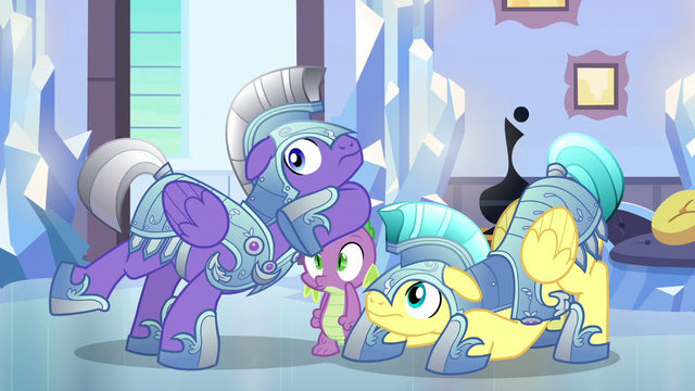 File:Spike and royal guards hear Shining Armor S6E16.png