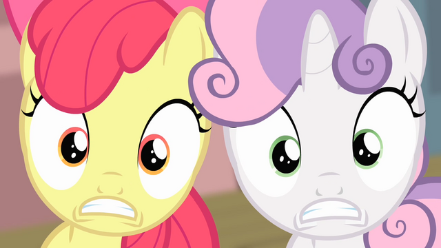 File:Sweetie Belle and Apple Bloom surprised S4E05.png