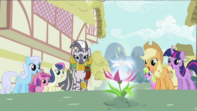 File:Zecora and ponies looking at the flower S2E06.png