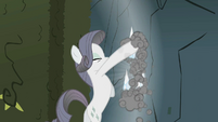 Rarity digging through the rock wall S2E01