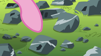 Pinkie Pie pointing at one of the rocks S4E18