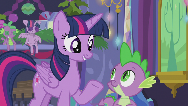 File:Twilight recalls her and Spike's first Hearth's Warming Eve S5E20.png
