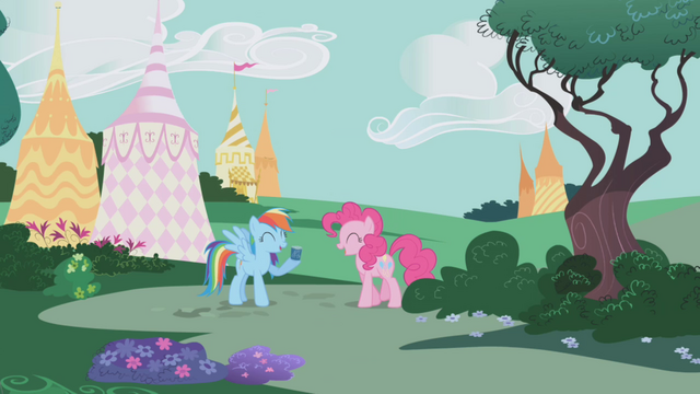 File:Pinkie and RD laughing at Rarity S1E05.png
