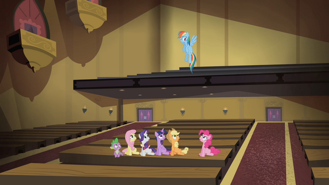 File:Main cast looks up towards Rainbow Dash S4E08.png
