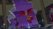 Demon Sunset flying into the school EG