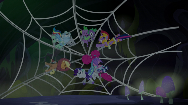 File:Main cast stuck in a spider web S5E21.png